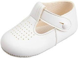 BNIB Made in England baby boys Baypod pram shoes in blue or white FREE U.K POST (12-18 months, White)