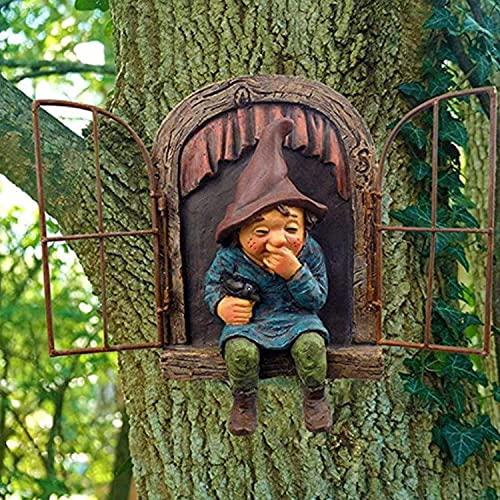 Hoomall Gartenzwerge Gartendeko Figuren, Wetterfest Baum Fensterharz 3D Zwerg Lustig Kichert Gartenwichtel GNOME Statue Garten Dekoration Geschenk