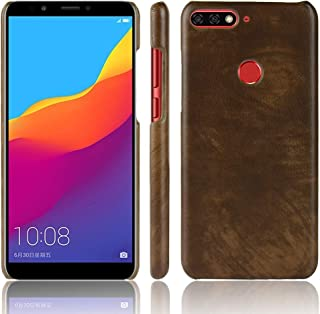 Huawei Honor 7C Case, Textured Business Style Light Weight Litchi Pattern Hard PC Back Case for Huawei Honor 7C (Color : Brown)