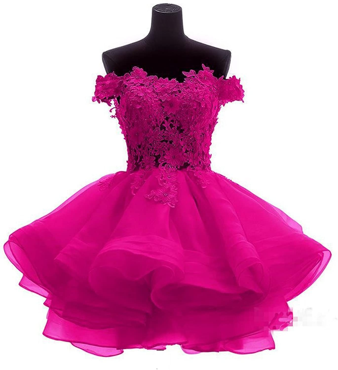 Liaoye Women's Off Shoulder Homecoming Dress Lace Tiered Homeocming Dress