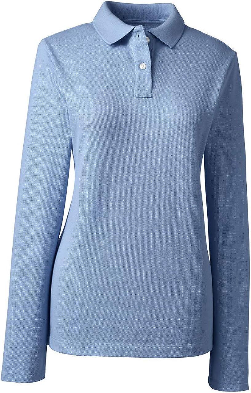 Lands' End School Uniform Women's Long Sleeve Feminine Fit Mesh Polo Shirt