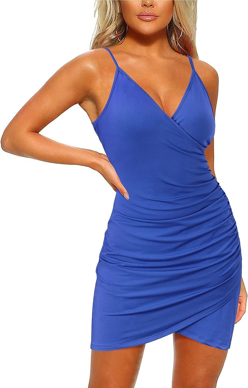 LAISHEN Women's Sexy V Neck Bodycon Dress Spaghetti Strap Ruched Mini Dress Club Party Dress