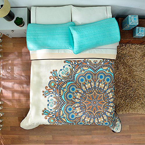 Indian medallón Floral Niñas Chic colcha Reversible para cama individual (cama de tamaño Queen
