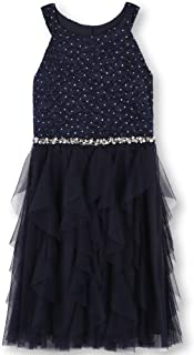 Girls' Big Sequin Lace/Mesh Tulle High Neck Dress