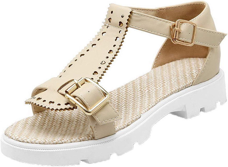 AmoonyFashion Women's Open-Toe Low-Heels Buckle Solid Sandals,BUTLT007164
