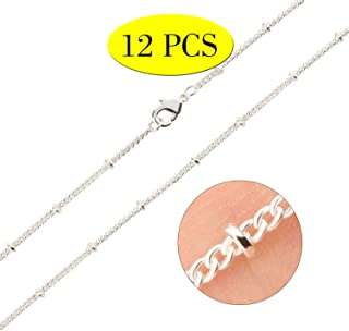 Wholesale 12PCS Silver Plated Solid Brass Beaded Ball Satellite Curb Chains Necklace Bulk Fine Chain for Jewelry Making 16-30 Inches (20 Inch(1.5MM))