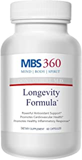 MBS360 Longevity Formula Powerful Antioxidant Supplement for Longevity Clinically Proven Anti-Aging Ingredients- Resveratrol + Curcumin + Blueberry Extract + Bioperine + Pterostilbene ✮
