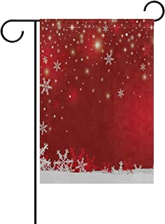 lightly Christmas Snowflake Red Garden Flags Indoor Outdoor Decorative House Yard Flag Holiday Decoration Double Sided 12x18 in