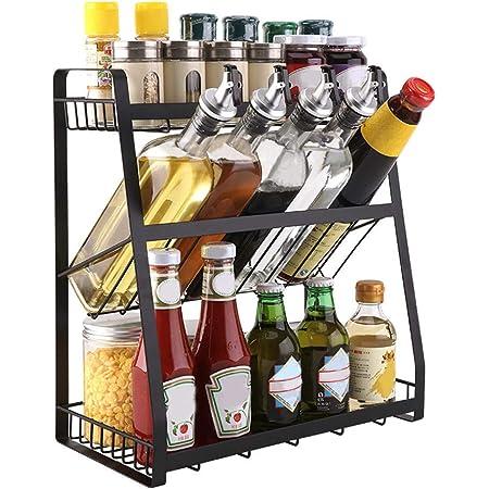 Gewürzregal Küchenregal Gewürz-Ständer aus Stahl mit 2 Etagen für die Küche de