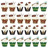 Cupcake Topper de Tarta BETOY 48PCS Wizard Cupcake Topper Cupcake Wrappers Envoltorios de Cupcakes Magdalenas Decoración Party Decor Favors para Decoraciones de Fiesta de cumpleaños