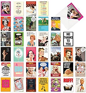 NobleWorks, Bestselling Laughs - 36 Assorted Occasion Greeting Cards with Envelopes - Funny Adult Notecard Set, Celebration Cards AC6669XXG-B1x36