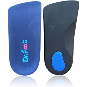 Dr. Foot's 3/4 Length Orthotics Insoles - Best Insoles for Corrects Over-Pronation,Fallen Arches, Fat Feet - Plantar Fasciitis, Heel Spurs, Bunions, and Other Foot Conditions (M- W9-10.5 | M7.5-9)