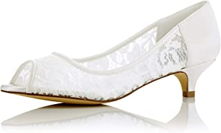 JIAJIA 01131 Women's Bridal Shoes Peep Toe Low Heel Lace Satin Pumps Wedding Shoes