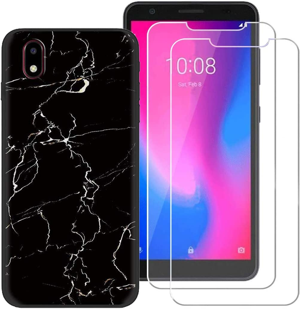 BestAlice for ZTE Avid 579 / ZTE Blade A3 2020 Marble Case with 2 Pcs Tempered Glass Screen Protector,Matte Slim Soft TPU Protective Rubber Bumper Cover, Black