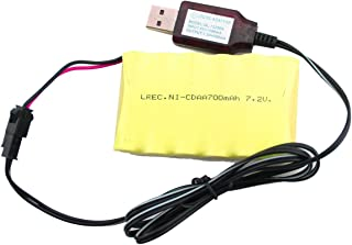 Fistone Rechargeable 7.2V 700mAh AA Ni-Cd Battery Pack for RC Construction Vehicles with USB Charging Cable SM 2P Plug