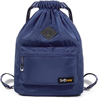 SportsNew Drawstring Sports Backpack - Gym Sack - Lightweight Sackpack Bag with Shoes Compartment for Men Women