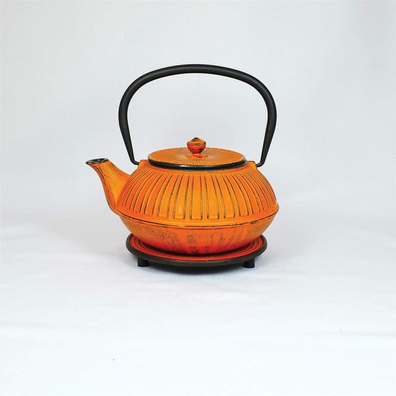Ja-unendlich Eisenkanne Bimu 1.0 Liter Orange Noppen Elefant Gold- Gusseisen - Teekanne