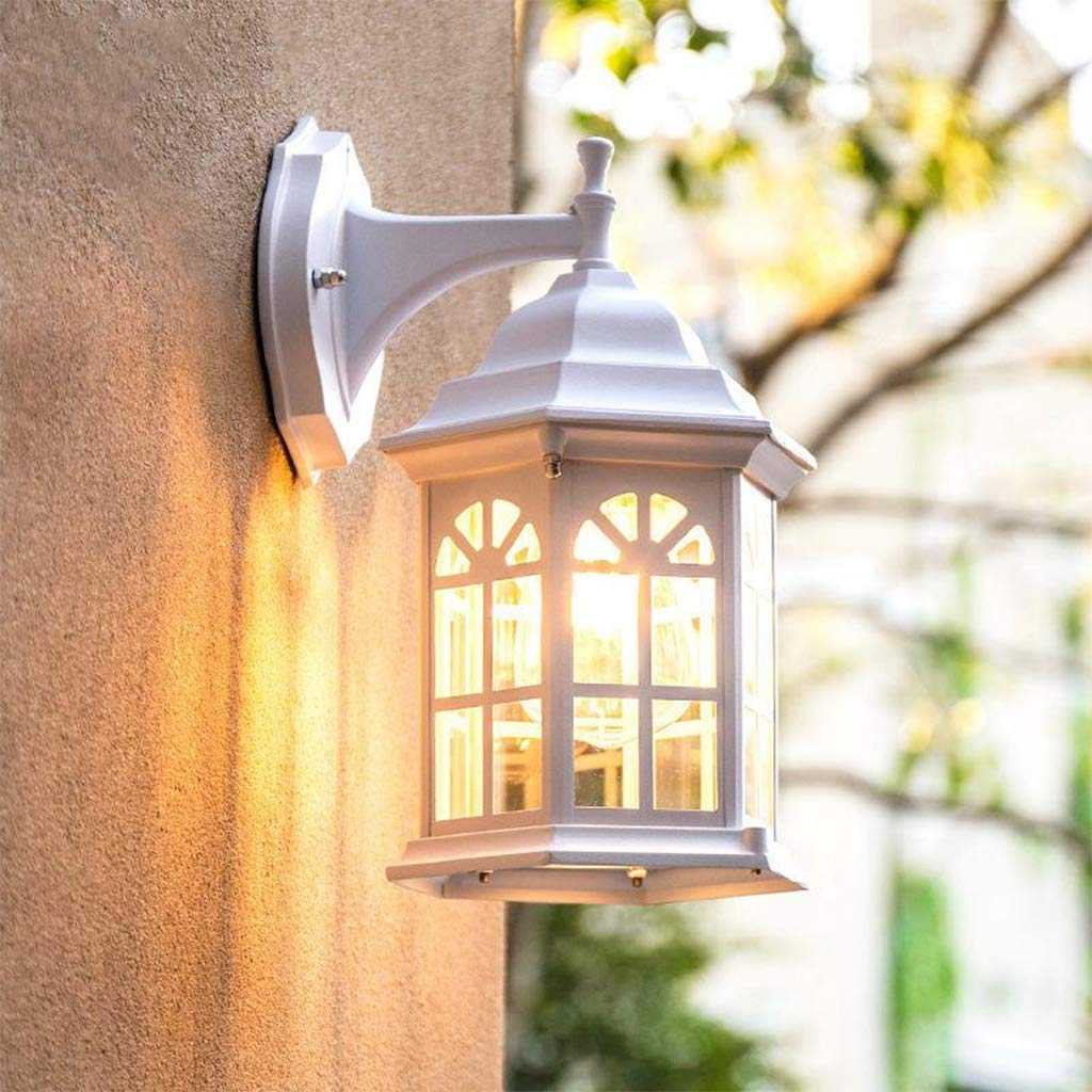 Al aire libre Luces de la pared, Blanco Castillo Exterior Faroles de pared europeo Villa Lámpara de jardín E27 Impermeable Lámpara de pared Parque Patio Noche Montado en la pared Iluminación,30*17cm: Amazon.es: