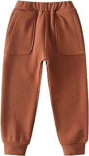 GLEAMING GRAIN Boys Jogger Sweatpants Little Boys Elastic Waist Solid Fleece Casual Jogger Pants for Winter