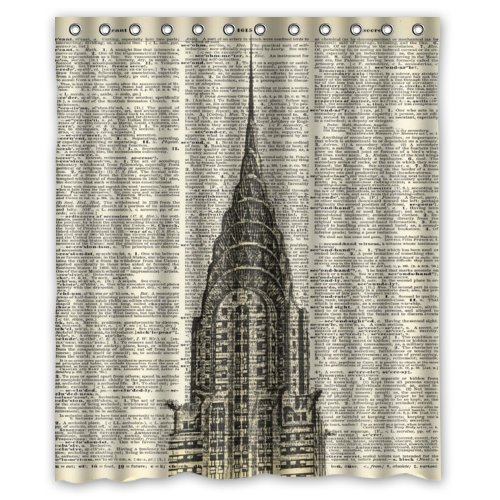 """60""""(Width) x 72""""(Height)Stylish Lovely Vintage Dictionary Page Art New York City Empire State Building Pattern Bathroom Shower Curtain Shower Rings Included (New Polyester) - Comfortable Life Bathroom Exclusive"""