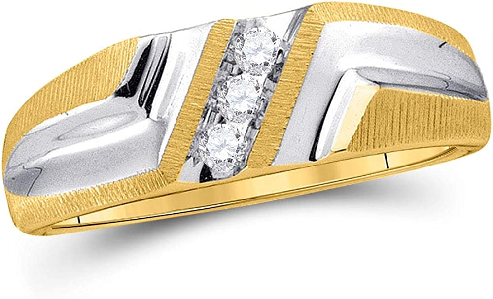 Dazzlingrock Collection 10kt Yellow Gold Mens Round Diamond Wedding Band Ring 1/10 ctw