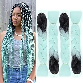 GX Beauty Kanekalon Braiding Hair 24 Inch Ombre Green Jumbo Braiding Hair Extensions Synthetic Hair for Box Braids(1B/Light Green)