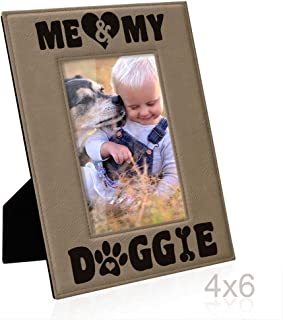 Kate Posh - Me & My Doggie Engraved Leather Picture Frame - Dog Lover, Puppy and Baby Gifts. My Best Friend, Dog Mom (4x6-Vertical)