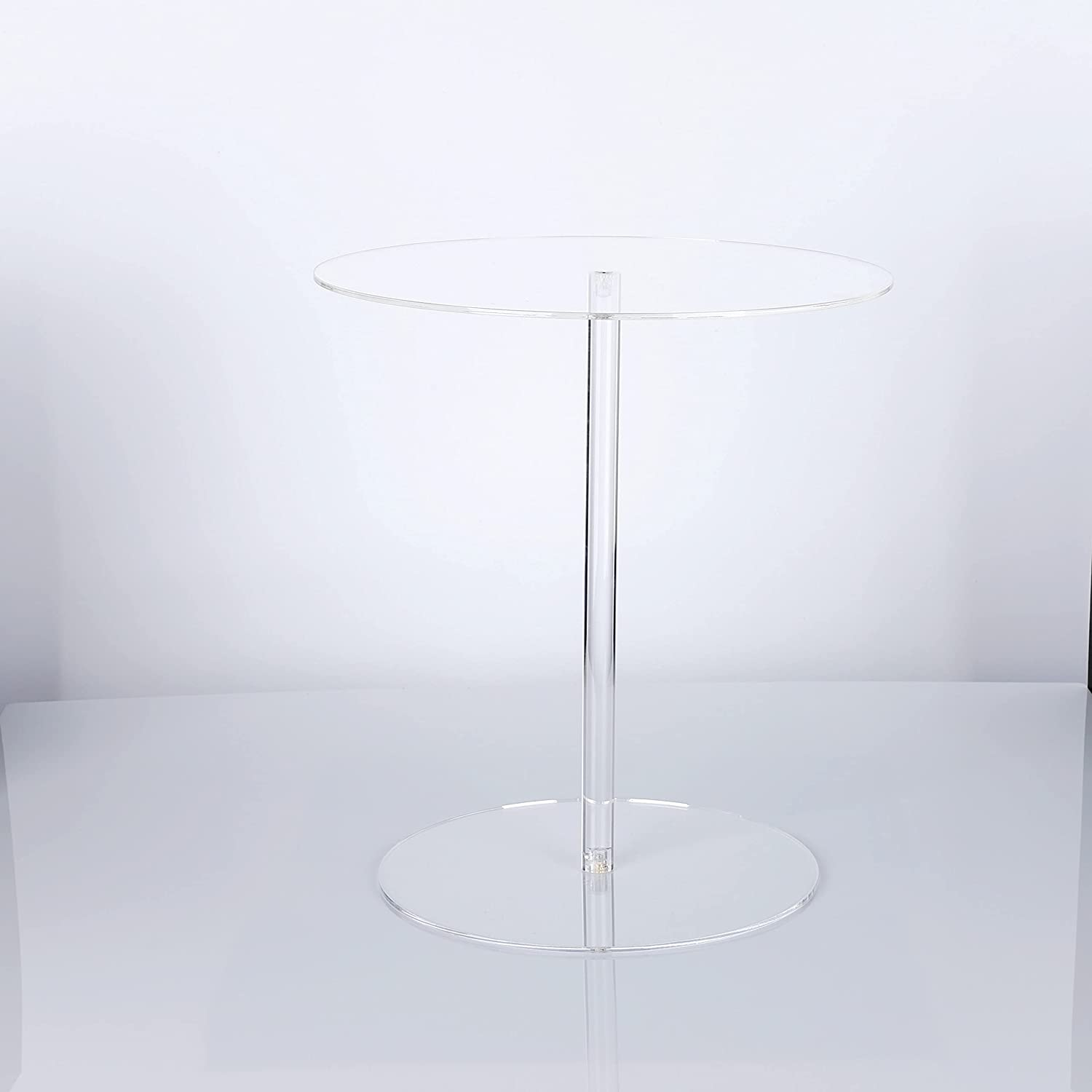 HESIN Clear Acrylic Round Pedestal Display Riser Flower Stand 9.