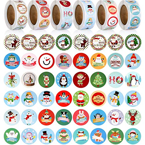 3000 Pieces Christmas Stickers Roll 1 Inch Winter Holiday Stickers Round Xmas Label Tag for Envelope Present Boxes Decorative Sealing, Multiple Designs