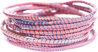 10 Pink with Blue Recycled Flip-Flop Bracelets Hand Made in Mali, West Africa