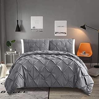 Vailge 3-Piece Luxurious Pinch Pleat Comforter Set,All Season Pintuck Comforter Set,Plush Microfiber Fill Duvet Insert,Machine Washable Comforter Bedding-Hypoallergenic & Soft(Queen,Grey)