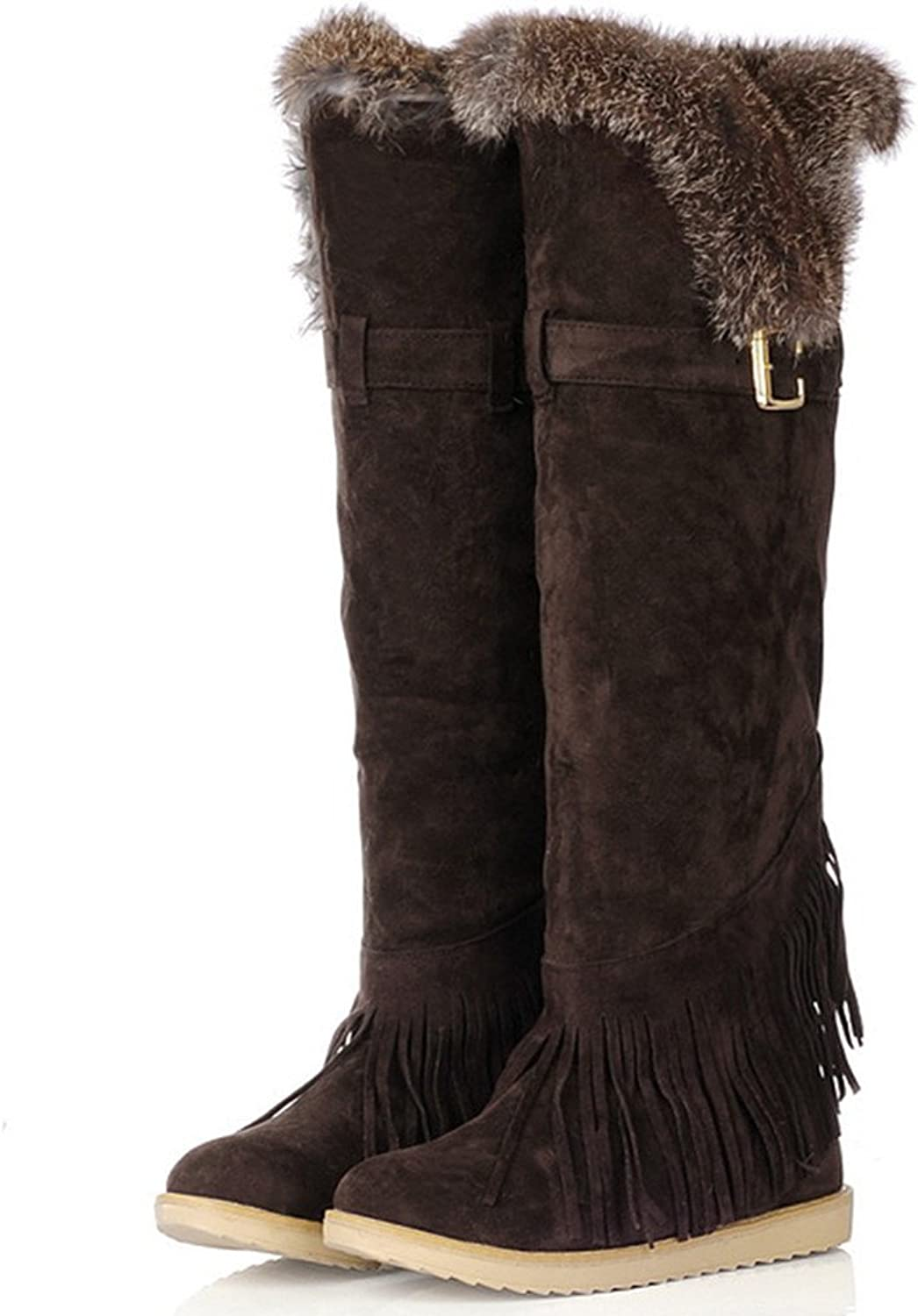 Fashion Heel Womens Flat Heel Round Toe Fur Collar Over The Knee Boots Long Snow Boot