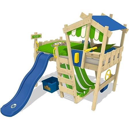 WICKEY lit pour enfant 'CrAzY Hutty' avec toboggan bleu - Lit mezzanine en plusieurs combinaisons de couleurs - 90x200 cm