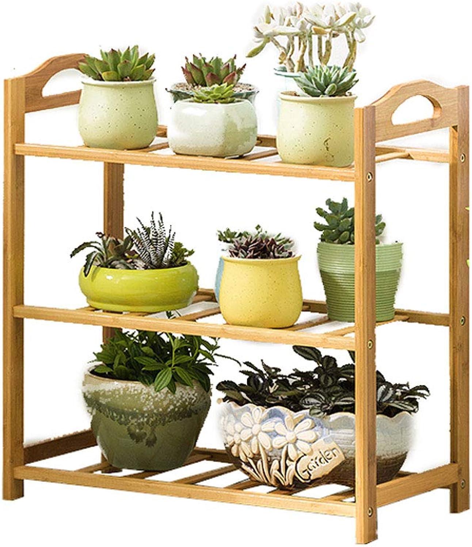 DLoob Bamboo Display Organizer Shelf Rack Plant Flower Pot Holder Stand Storage Rack Shelving Unit (Size   H 56CM)