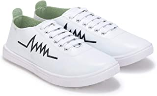 Stepfit Men's White Heartbeat Low-top Classic Water Resistant Perfect Casual Sneakers