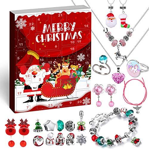 Humairc Bijoux Calendrier l'avent pour Filles 2020 Noël, 24 Cadeaux Surprise Noël Bracelet à Faire soi-même Collier-Clip Boucle d'oreille Anneaux charmes pour Enfants Fille Adolescents Petite-Fille