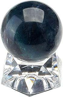 MANIFO Healing Crystal Polished Mineral Ball Sphere Feng Shui Chakra Aura Balance Stone with Acrylic Stand - 30mm Fluorite