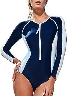 水着 女性用ワンピース水着 ビーチ水着 ギャザーバック 長袖日焼け止め水着 スポーツワン ギフト 服 (Color : Blue, Size : XXL)
