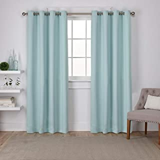Exclusive Home Curtains Sateen Twill Weave Blackout Window Curtain Panel Pair with Grommet Top, 52x84, Seafoam, 2 Piece