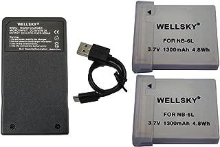 WELLSKY NB-6L NB-6LH 互換バッテリー 2個 & [ 超軽量 ] USB Type C 急速 互換充電器 バッテリーチャージャー CB-2LY 1個 [ 3点セット ] [ 純正品と同じよう使用可能 残量表示可能 ] Canon キヤノン PowerShot SX510 HS / PowerShot SX170 IS / IXY 30S / PowerShot S95 / IXY 31S / IXY 32S / PowerShot SX260 HS PowerShot D20 / PowerShot SX280 HS / PowerShot S120 / PowerShot S200 / PowerShot SX530 HS / PowerShot SX710 HS / PowerShot SX610 HS