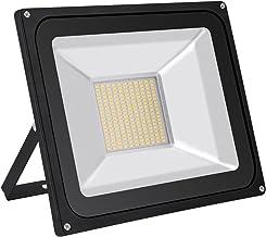 100W LED Foco proyector Exterior, IP65 Impermeable, 8000LM 3000K Blanco cálido, super brillantes luces de seguridad al aire libre, 120 grados 80% bajo consumo y respetuoso con el medio ambiente