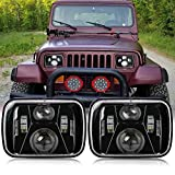 xj jeep headlight conversion - 110W 5x7 Inch Led Headlights 7x6 Led Sealed Beam Headlamp with High Low Beam H6054 6054 Led Headlight for Jeep Wrangler YJ Cherokee XJ H5054 H6054LL 6052 6053 2 Pcs Black