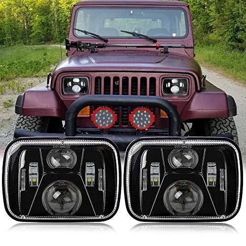 Perzework 110W 5x7 Inch Led Headlights 7x6 Led Sealed Beam Headlamp with High Low Beam H6054 6054 Led Headlight for Jeep Wrangler YJ Cherokee XJ H5054 H6054LL 6052 6053 2 Pcs Black