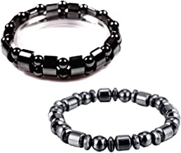 VIKI LYNN 2 pcs Hematite Bracelet Hematite Metal Magnetic Therapy Bracelets for Arthritis Pain Relief and Sports Related