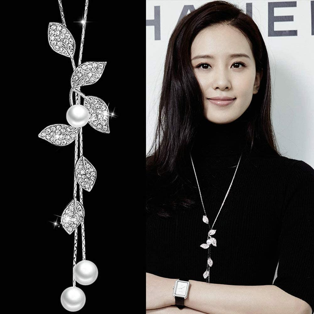 TULIP LY White Crystal Pendant Necklace Long Sweater Necklace Fashion Jewelry for Women Girls