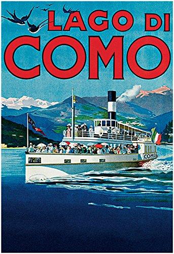 Lago Di Como Poster, Lake Como, Italy, Vintage Italian Travel Poster