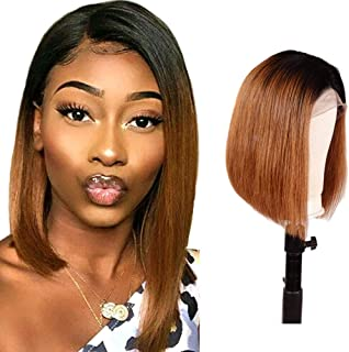 Hairitory T1B/30 Ombre 13x6 Deep Part Lace Front Bob Wig for Women 8A Brazilian Glueless Short Straight Human Hair Pre Plucked Lace Frontal Wigs (10
