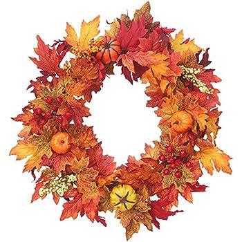 cheerfulus Automne Feuille De Citrouille Guirlande De No/ël Artificielle Couronne Porte Avant D/écoration Thanksgiving Guirlande D/écorative