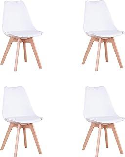 N / A Conjunto de 4 Sillas de Comedor Sillas Cocina Nórdico con Asiento Tapizado y Las piernas de Madera de Haya Maciza (Blanco)
