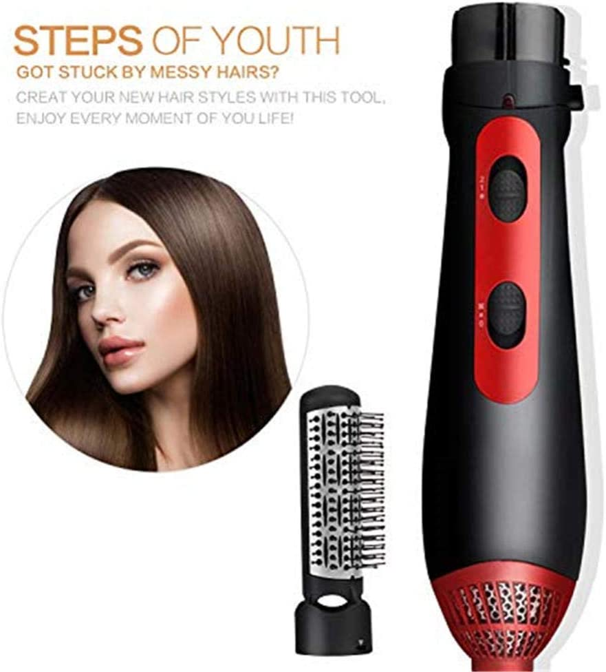 Reduce Frizz,Staticone Step Hair Dryer Brush For Hair Styling Multi-Function Hair Dryer Electric Curler Hair Straightener With Temperature And Speed Adjustment-Red Red bk76R